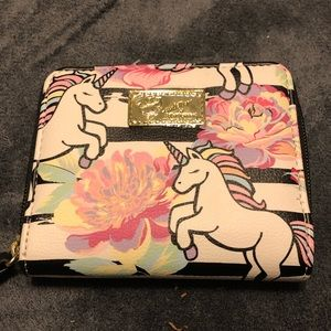 NWOT•Betsy Johnson Unicorn/floral zippered wallet